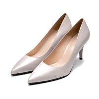 le saunda 莱尔斯丹 时尚优雅通勤OL职业尖头浅口套脚细跟女单鞋LS AM87112 灰色羊皮革 38
