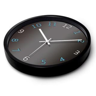 摩门(Momen)挂钟 创意高雅客厅卧室时尚家居12英寸大挂钟气质时钟静音进口机芯挂表石英钟FT021黑色