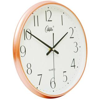 康巴丝(Compas)挂钟15英寸万年历创意静音客厅钟表日历简约时钟卧室挂表电子石英钟C3076玫金