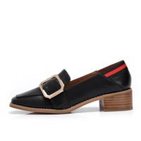 CAMEL 骆驼 休闲系列 女鞋 时尚舒适金属扣饰个性方跟单鞋 A81025622 黑色 36