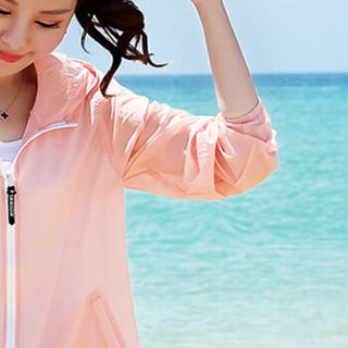 朗悦女装 2019夏季新款中长款防晒衣连帽长袖印花薄款透气沙滩服外套上衣 LWFY183639 粉色 均码