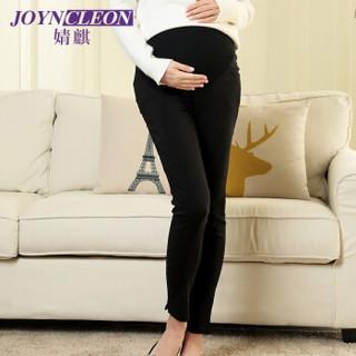 婧麒(JOYNCLEON) 孕妇打底裤可调节托腹打底裤小脚高腰孕妇装春夏款 黑色XL码 J238604