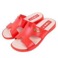 WARRIOR 回力 拖鞋时尚休闲沙滩凉拖一字拖HL3399酒红色38码