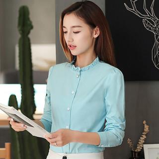 俞兆林 2019新款女装韩版木耳边立领上衣气质百搭长袖衬衫 YWCS187228 天蓝色 M