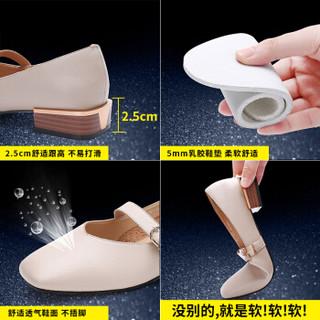 YIYA 毅雅 时尚水钻奶奶一字带粗跟低跟复古小方头浅口玛丽珍女单鞋 白色 37
