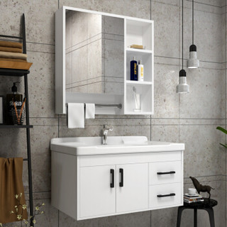 四季沐歌 MICOE X-GD029(80)-L实木浴室柜组合套装有拉手  洗脸盆柜组合洗漱台 陶瓷洗手盆卫浴柜
