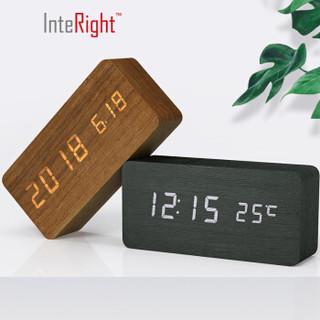 INTERIGHT充电静音闹钟LED声控电子钟木头蓄电池闹表黑色