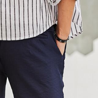 北极绒 Bejirong 短裤男士 休闲直筒短裤男修身弹性舒适五分裤男韩版休闲运动裤 友1819 深蓝 4XL