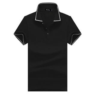 北极绒 Bejirong 短袖POLO衫2019春季情侣新款百搭休闲运动正装翻领纯色潮牌款 LZ-6016 黑色 XL