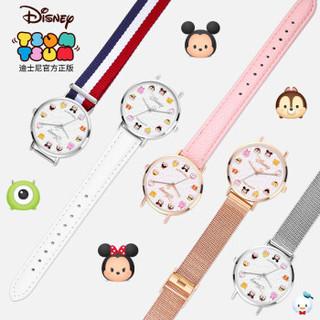 迪士尼(Disney)手表女学生防水夜光皮带石英表韩版简约儿童手表女孩卡通腕表 208银壳白带白面