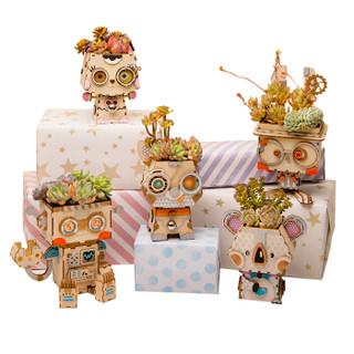 若态立体拼接木质花盆花槽 拼装模型手工diy 木质多肉花盆 创意花盆玩具礼物 姜一桃