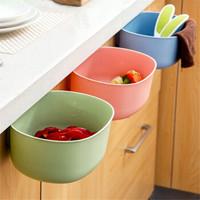 MOYOU厨房橱柜门挂式大号垃圾桶 家用欧式无盖塑料收纳盒垃圾篓 三个装(随机色)