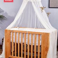 和氏贝婴儿床蚊帐罩加密宝宝蒙古包带支架通用无底开门式小新生儿