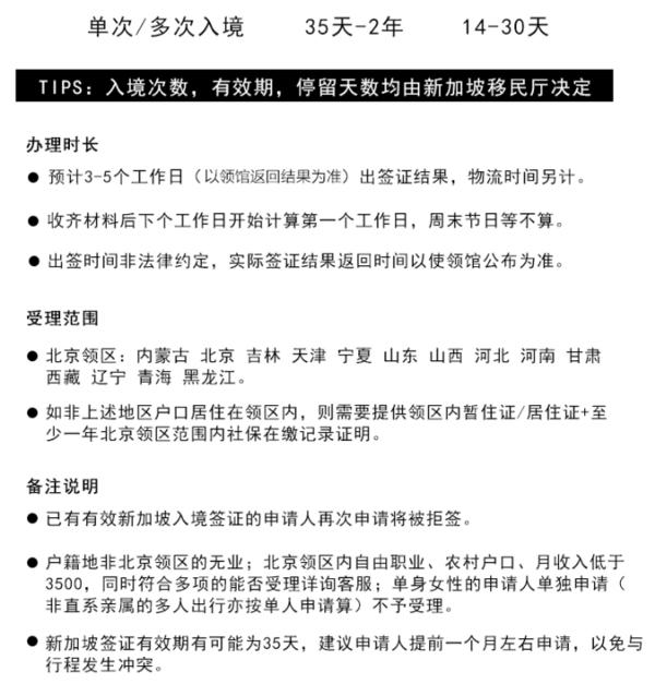 北京/上海送签  新加坡个人旅游签证