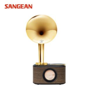 SANGEAN 山进 2019010801159909 复古无线蓝牙便携迷你音箱收音机仿留声机 (金色)