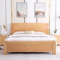 MEITIANLE 美天乐 简约榉木实木双人床 1.8*2米