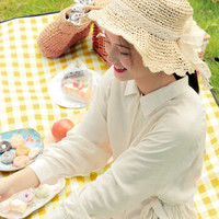 梦花园 多人可折叠野餐垫  2米X2米黄白格