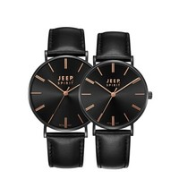 JEEP SPIRIT吉普欧美时尚休闲手表黑盘皮带石英经典情侣对表 纯系列JPS800002M/W