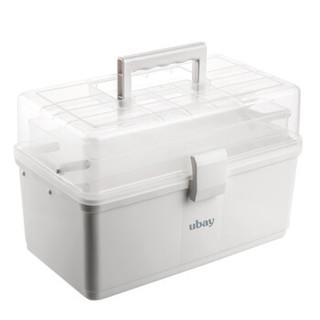 ubay 家用医药箱 多功能大号塑料收纳箱便携式出诊箱药品盒子手提多层急救箱 大号透明折叠  S3 *4件