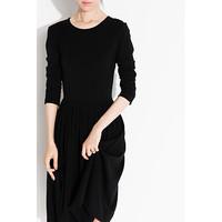 Ms MIN  IBWD002414K 经典圆领高腰连衣蓬裙 (黑色)