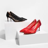 【每满199减100】考拉工厂店 19春夏新款网布水钻女士尖头单鞋