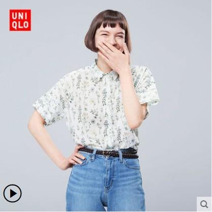 优衣库 UNIQLO 416358 女装 S Sanderson全棉衬衫(短袖)
