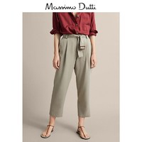 年中大促 Massimo Dutti 女装 女式修身版系腰带褶饰设计莱赛尔长裤 05035681830
