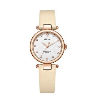 格雅(GEYA)手表 女学生简约时尚镶钻星空女士手表皮带小表盘石英女表JD76036