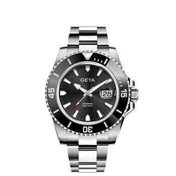 格雅(GEYA)手表男士机械表黑水鬼 全自动钢带专业潜水表300米防水JD78022