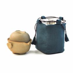 艾芳贝儿 粗陶茶具套装 (1壶1杯1布包)