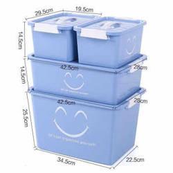 四件套塑料收纳箱炫彩带盖整理箱