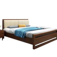 物槿  RZ-01 北欧实木床 胡桃色 单床 1.8米*2米