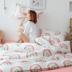 初意家纺全棉床笠四件套纯棉彩虹 1.5-1.8米床四件套/适用200*230被子