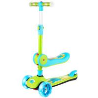 鑫奥林(XINAOLIN)儿童滑板车1-2-3-6岁可坐滑滑车小孩踏板车折叠闪光轮溜溜车二合一款 绿色
