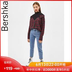 Bershka女士 2019春装新款红黑色格子衬衣假两件衬衫 00896111600