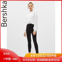 Bershka女士 春装新款高腰紧身破洞黑色牛仔铅笔长裤 00001888800