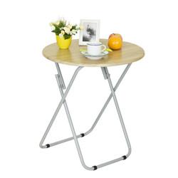 慧乐家 户外家具 简易便携折叠休闲创意野餐圆形桌学习桌 木纹色 22189