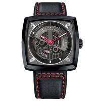 艾戈勒(agelocer)大爆炸瑞士原装进口钟表 新品时尚全自动机械表镂空方形男表大表盘潮表 时尚红皮 5604J4