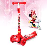 迪士尼儿童滑板车四轮闪光摇摆车可折叠升降脚踏车米妮DCA71106-B