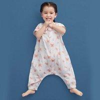米乐鱼婴儿睡袋夏季薄款全棉4层纱布分腿睡袋宝宝防踢被防着凉