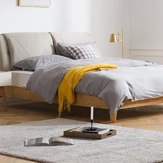 历史低价 : KUKa 顾家家居 305B 简约北欧休闲皮布双人床 1.8*2m