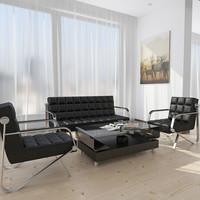 麦森(maisen)办公沙发 现代简约办公室商务接待会客西皮沙发 三人位 黑色 MS-SF-102