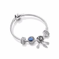 PANDORA佳期如梦925银手链套装简约优雅浪漫蓝色送女友礼物 PDLJDP0007-17cm