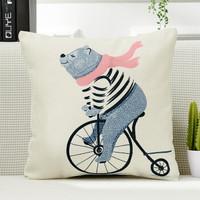 快乐熊靠垫抱枕腰垫  粉围巾熊 45*45cm