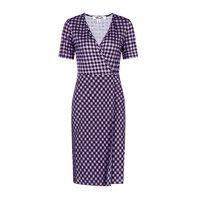 DVF V领格纹设计桑蚕丝女士短袖连衣裙