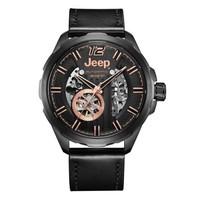 吉普(JEEP)手表 大切诺基系列 机械表男表镂空全自动 皮带防水男士腕表 JPG900202MA