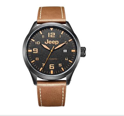 吉普(JEEP)手表 指南者系列 机械表男表 商务简约皮带 全自动男士腕表 日历防水 JPW66003