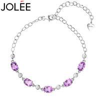 羽兰(JOLEE)  手链  S925银手镯天然紫水晶彩色宝石时尚韩版新款首饰品送女生520礼物