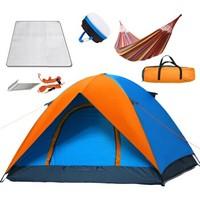 快乐游 户外3-4人双层帐篷 露营野营帐篷套餐 KLY-1026 橙色