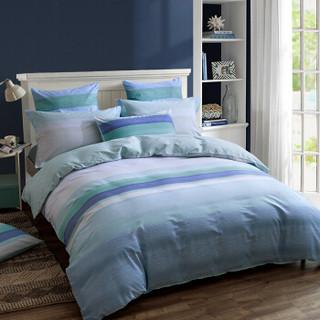 安睡宝(SOMERELLE)床品套件 全棉条纹简约四件套 纯棉床单被套 双人 齐拉索 1.5米床 200*230cm
